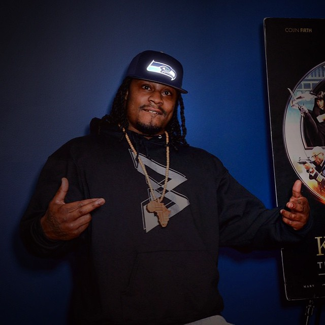 @beastmode #MarshawnLynch rockin his very special #custom #SeattleSeahawks @LUMATIV #Snapback!  We made a few #prototypes for some of the players to show our love for the #Seahawks and #northwest! #LUMATIV #LiveBright