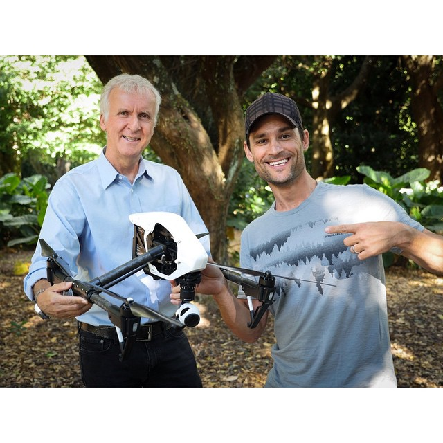 Upgrading from the ground to the air, #JamesCameron has received his first #DJI #inspire1 from Shawn Royster.  We can't wait for incredible #4K #aerial footage from you James! #roystertv ​