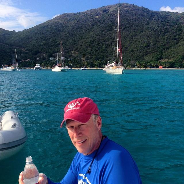 David Stifler collects a water sample for the #ASCMicroplastics Project in waters off Jost Van Dyke, British Virgin Islands. Next stop, the @SoggyDollarBar. #bvi #britishvirginislands #jostvandyke #ocean
