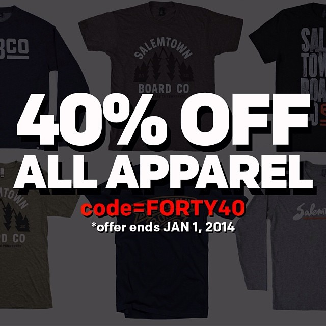 40% OFF all apparel. Code = FORTY40. Offer ends JAN 1, 2014.