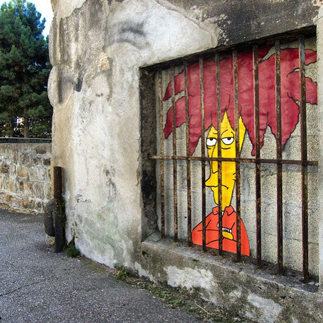 New work from Oak Oak in Saint Etienne, France #streetart #oakoak #thesimpsons #sideshowbob