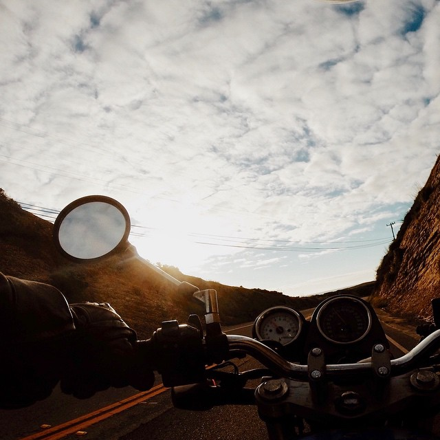 Sunset chasing. We sure have missed Daylight Savings! #LightBro #SunsetChasing #SV650
