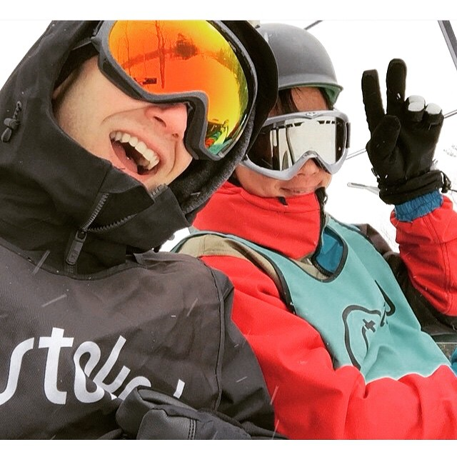 Sharing a #stokedmoment and a smile on the slopes.  Photo by @natebackman #volunteer #grateful #community #friendship #stokedorg #snowboarding