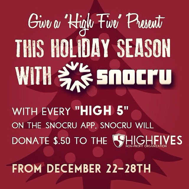 You can get connected AND help support the Foundation by downloading the @snocru Free Mobile App! Each 'High 5' on the Newsfeed helps #MakeEdBroke and is donated to #high5ives Thanks #SnoCru ✋