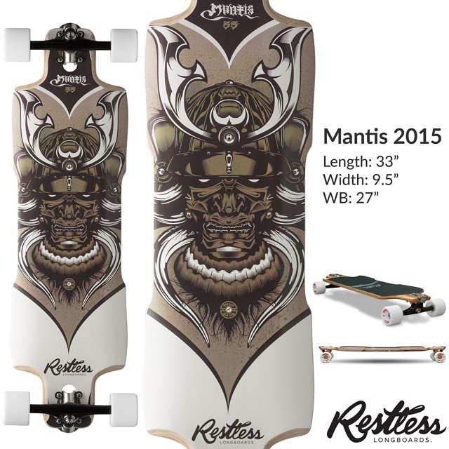 "Restless lineup leak #3: Mantis 2015. 9.5 x 33"" drop through deck that is fast and agile. More coming this weekend. #restless2015leak"