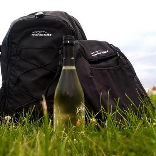 The Tahoe Backpack & Cooler in a Wisconsin #farm field. #vino #outdoors #thetahoe #backpacks #coolers #graniterocx
