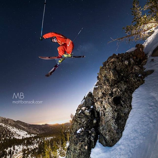 Dave Wadleigh sends it in the dark over the Reno skyline under a full moon.