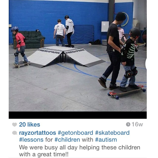 Another great repost by @rayzortattoos ! #freshpark #ramps #skate #autism #getonboard