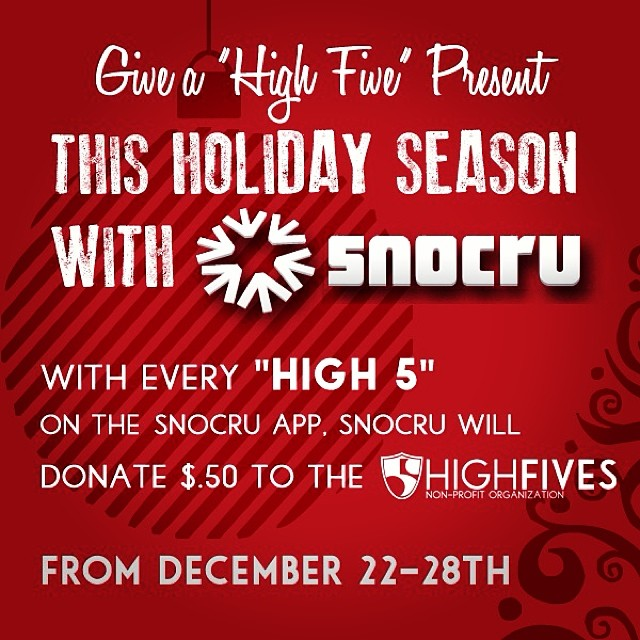 Today is the FINAL day to help #MakeEdBroke with $.50 being donated for every 'High 5' on the @snocru Free Mobile App's Newsfeed! Help raise funds for #High5ives and get connected with #SnoCru | Thank you for the great support everyone!
