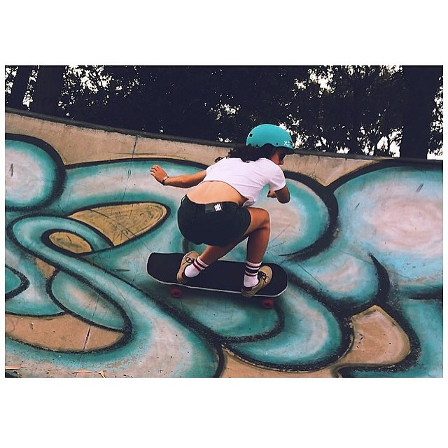 #skatebikeboardski @jennarus skating a secret spot #girlswhoshred #skate #surf #xshelmets
