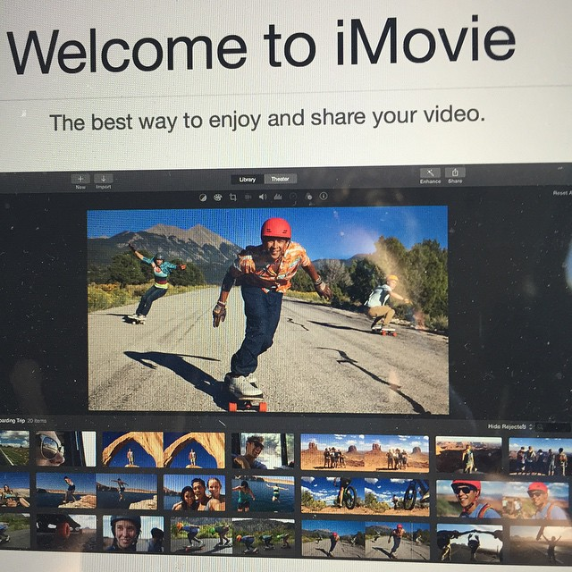Just opened #iMovie and got this welcome screen with @ethancochard in his #PushCultureApparel #crashpants hahah! Stoked!