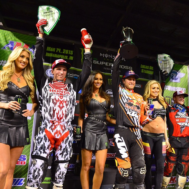 Hard work makes for happy results.  Huge congrats to @coleseely for landing in 2nd at #IndySX!  #SEEHAPPY #Supercross
