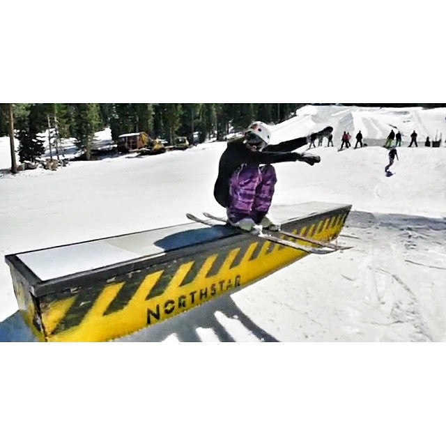 our girl brit white (@winterdubs) gettin low at @skinorthstar this fine morning #coalitionsnow #skiing #whilewecan