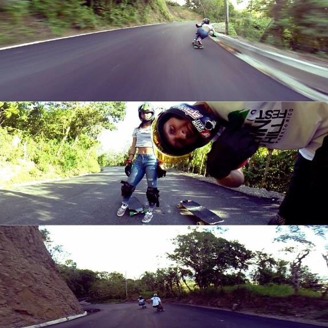@pamdiazz and @cesarpucheu went #hillhuntingRD and they found a sick fresh paved hill ! Video coming out soon filmed by @gdivanna #keepitholesom #delpatiolongboarding