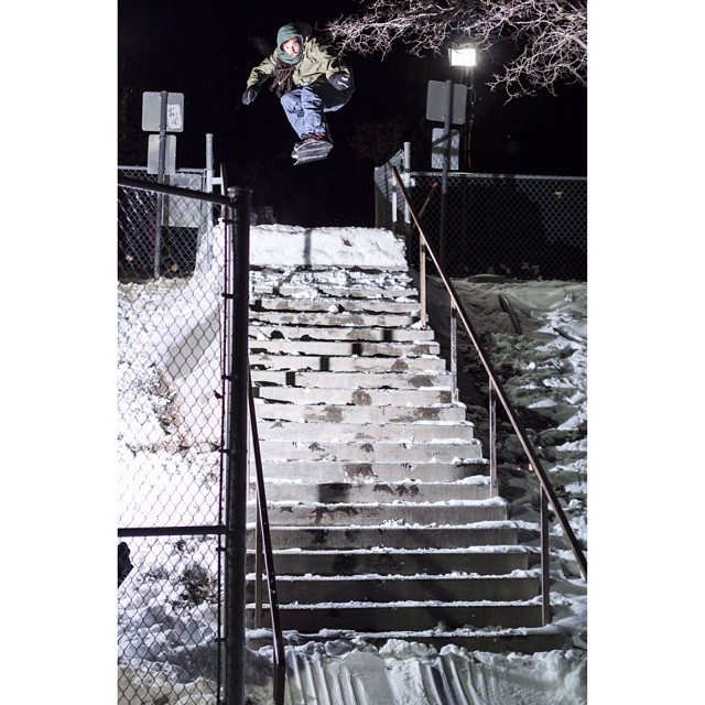 Smokin team rider @space_rok sending an ollie over some stairs here in Tahoe,hope everyone has been able to get out there this holiday season.  Seasons Greetings form all of us @smokinsnowboards