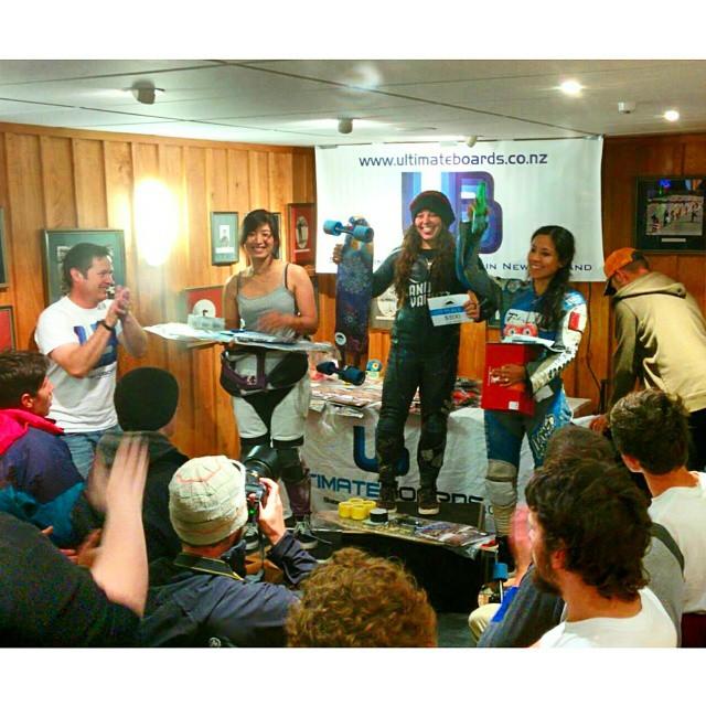 New Zealand's Ruapehu Gravity Festival women's podium! Rachel Bagels @skatebagels 1st, Elissa Mah 2nd, and Maga McWhinnie @magalyfbe 3rd! Excellent racing ladies! #girlswhoshred #longboardgirlscrew #ruapehu #