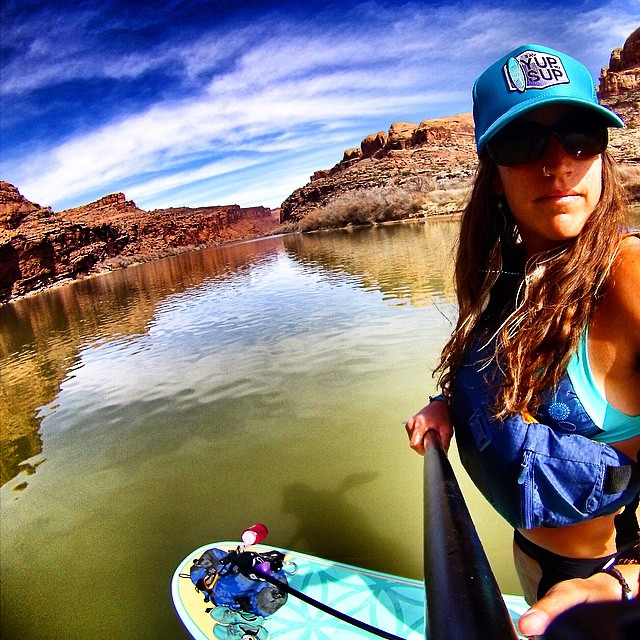 YUP 2 SUP? #everydamnday ❤️❤️❤️ hats available at www.heidimicheledesign.com @theabominableheidimonster @boardworkssurfsup #welivewater @localhoneydesigns @astralwhitewater #astralloyak
