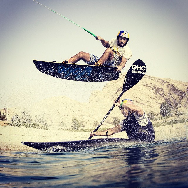Wake up. It's the wakeboard, kayak mash-up with @OmeirSaeed and @Vavrovo_kayak #wakeboard #kayak #watersports
