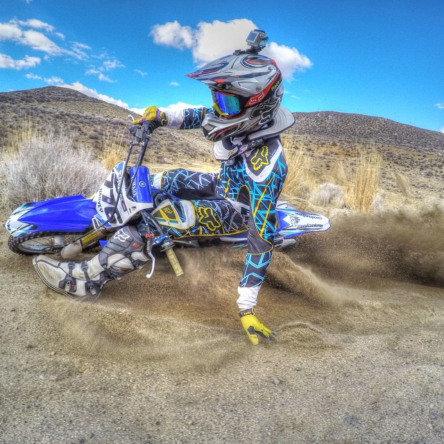 Photo of the Day! @aronharvey776 kicks up some dirt on a sunny day. #gopro #moto