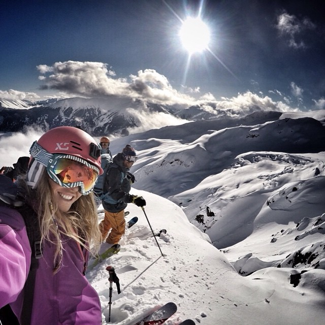 GoPro athlete @lynseydyer gets ready to drop. #GoProGirl #ski #snow