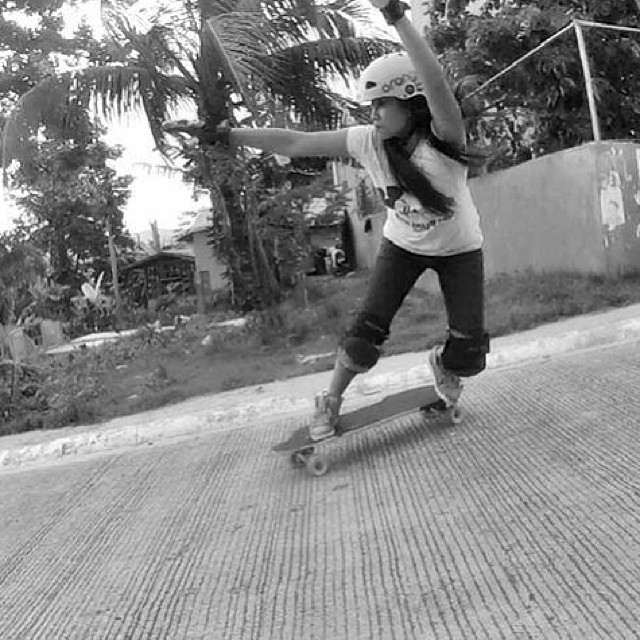 LGC #Philippines Kara Marbe Urbiztondo @kara_skates backsiding sketchy concrete #longboardgirlscrew #PhilippinesShred