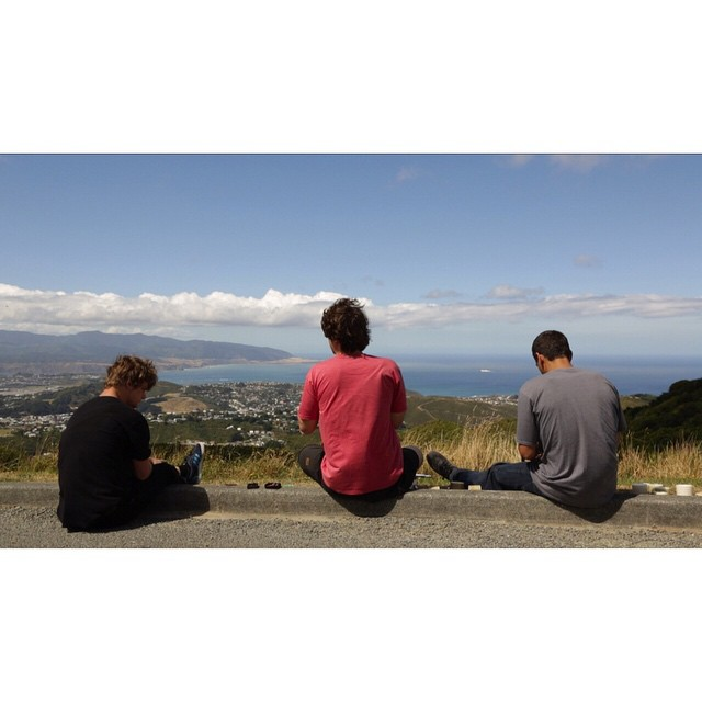 @brandontissen @jameskelly_shm and @tyler_howell_sb enjoying the view in Wellington, NZ before dropping in on a local run. photo @jack_flosston