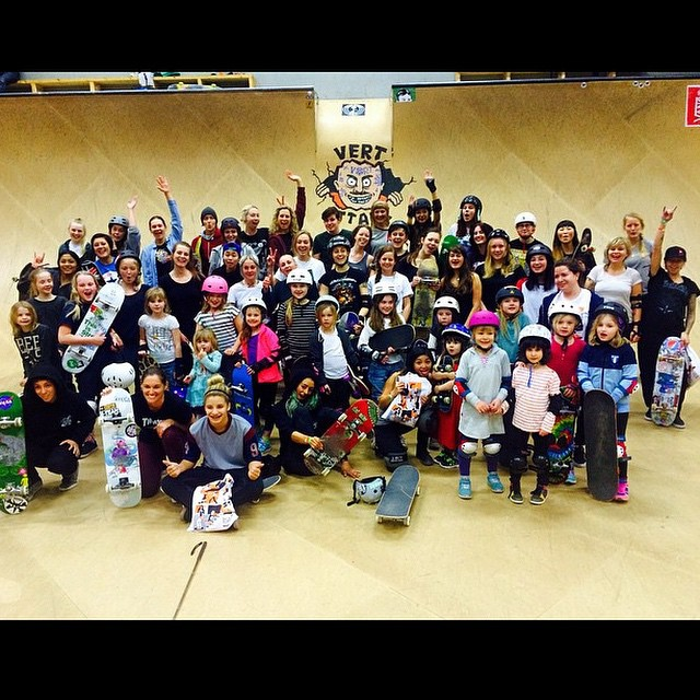 Repost of  the #girls night at #vertattack and it is so great to see they had an awesome turnout! So cool that  female shredders unite all over the world! #Sweden #Malmo #girlpower #girlsthatshred #vertisnotdead #skate #skateboard #international