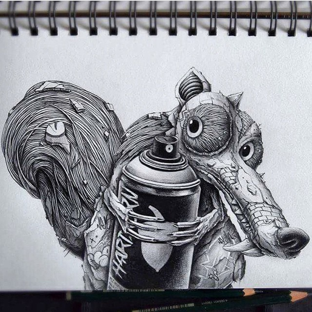 Work by @pezartwork from France #scrat #iceage #spraypaint #notimefornuts #drawing