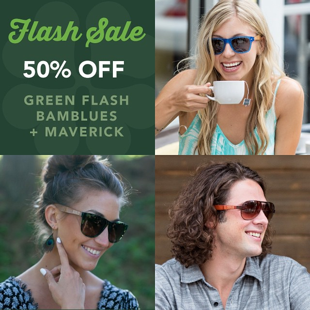 Happy St. Patrick's Day, friends!! For 24 hours only, enjoy 50% off the Green Flash, Bamblues and Maverick frames. Visit the link in our profile. Ready, set, go!
