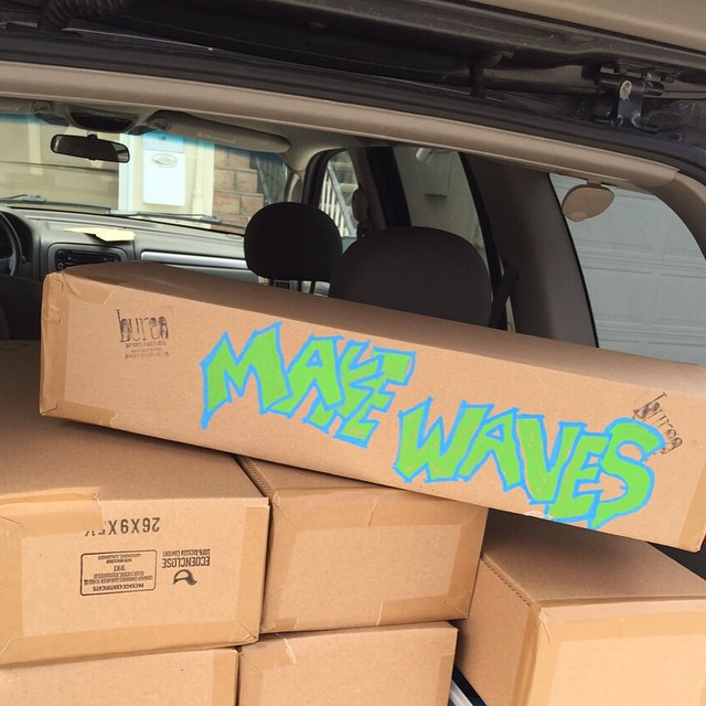 Shipping department fun. Hand drawn flare added to one our 100% recycled paper packages going out today! #Makewaves #NetsToDecks
