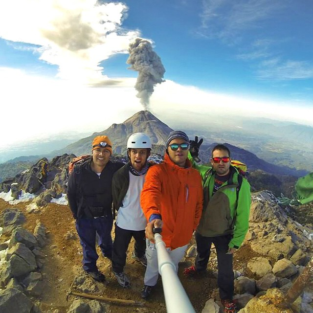 Alan Sg and friends selfie at 4200 meters above sea level in front of Volcán de Colima in Mexico. #gopro #gopole #gopolereach #volcano #mexico