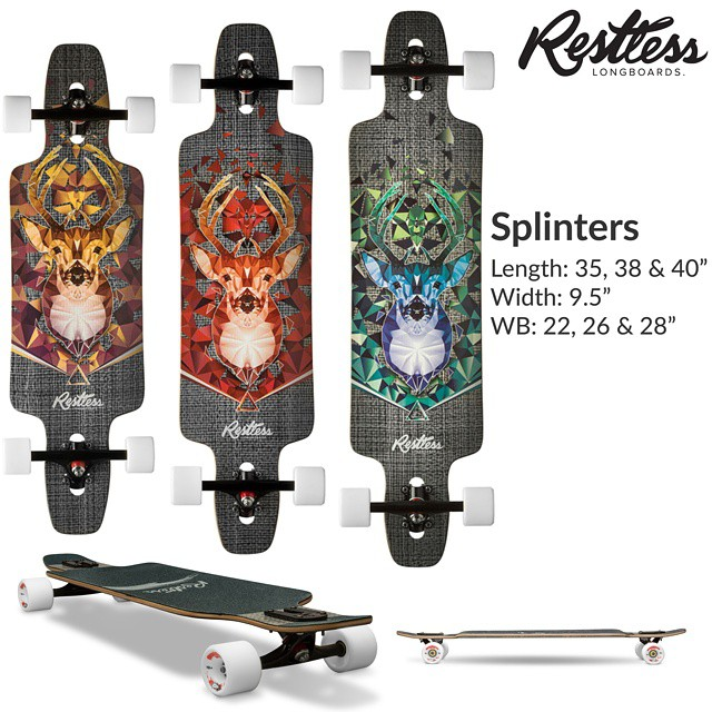 "Restless 2015 lineup leak #5: Splinter 2015. 9.5"" x 35, 38 & 40"" flex twin tip decks with fiberglass-wood sandwich, drop through and double kicks. Very good for beginners and fit long cruises. #restless2015leak"