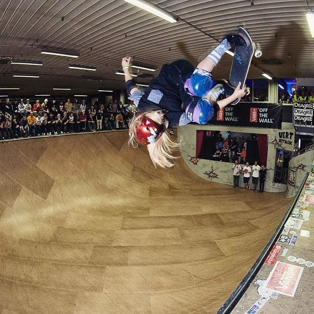 You need to see this. Go to longboardgirlscrew.com and check Vert Attack Girls' Final with @alanasmithskate @lizziearmanto @allyshabergado @mimiknoop @brightonzeuner @gnarlyghostie @julzlovespoolz taking it to the next level.  In the photo...