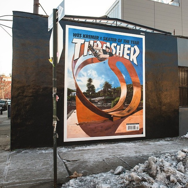 Big shout to @seenoutdoor for the epic mural of the #KremerSOTY2014 @thrashermag cover! RC and the crew killed it! It's on 14th and Berry in Brooklyn if you're in New York.  @sk8mafia #WesKremer #DCShoes #SeenOutdoor
