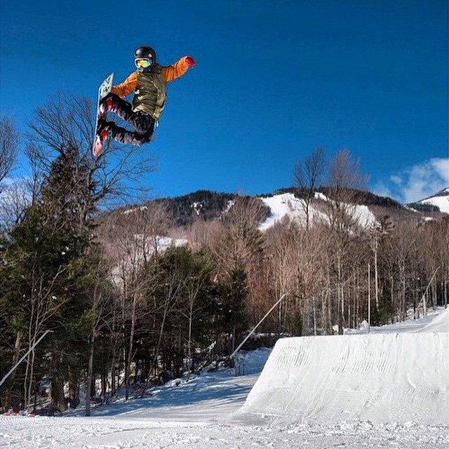 No time like hang time with @richmond.harvey at @whiteface_mt #earnyouturns #mountainlife #freshairandfreedom #instawinter #bigmountain