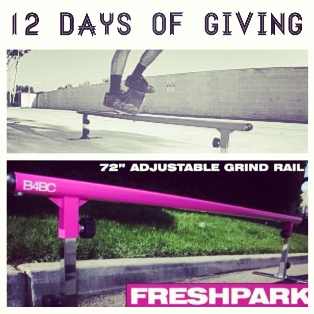 12 DAYS OF GIVING // Fresh Park DAY 9: This portable skate rail from @freshpark is the perfect gift for your favorite skater who wants to get their shred on at home, AND $25 from each purchase goes to benefit B4BC's education and prevention...