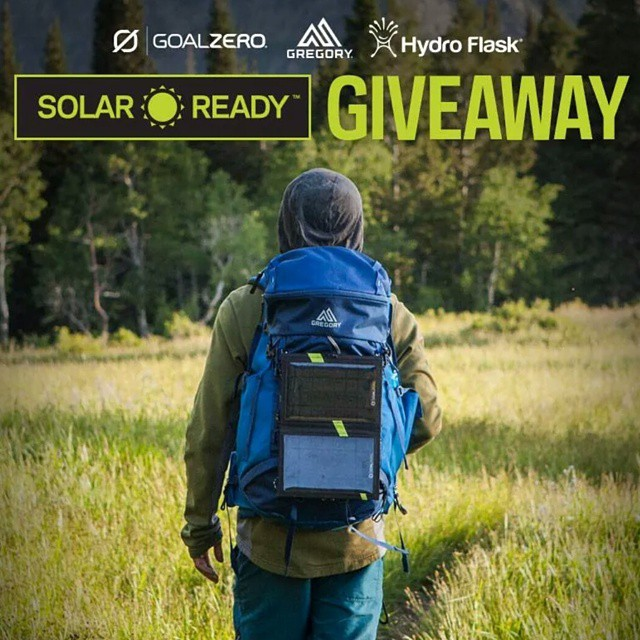 LAST CALL TO ENTER! In celebration of our Solar Ready™ collaboration with @gregorypacks, we're giving 3 lucky winners a Gregory Solar Ready™ Pack, Goal Zero Switch 10 solar Kit, and a @HydroFlask with a straw lid!  Follow the link in our profile to enter.