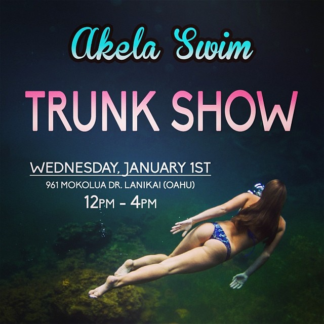 OAHU girls • head over to Lanikai tomorrow for the @akelaswim trunk show. She's got some rad new bikinis out! • 961 Mokolua Dr • 12pm-4pm • #trunkshow #bikinis #akelaswim #underthesea