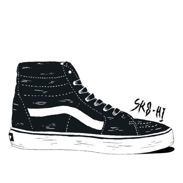 Ilustración de una #Sk8Hi por @joaquin.motor, diseñador, tatuador, skateboarder y nuevo compañero en los HQ de Vans. Aguante
