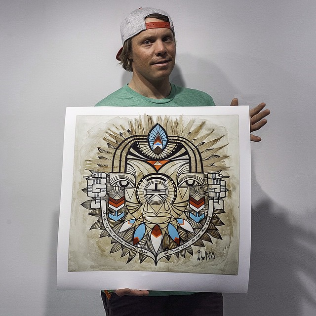 "Next stop Portland!  Join Asymbol and @evo March 27th for the Wandering Eyes exhibition. ""Elders"" by @iunatinta : Model @travisrice  Prints and Originals available at asymbol.co or at @evoportland on 3/27.  See you there!  #wanderingeyes #asymbolart..."
