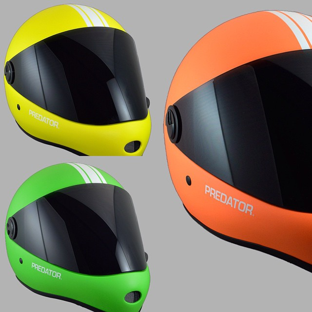 Want to stay HIGH VIS when you're out skating? Keep an eye out for these 3 new #mattefluoro  #DH6 that will be available starting April. #predatorhelmets #mattefluoro #yellow #orange #green #originalpredatordesign #DH6 #HIGHVIS