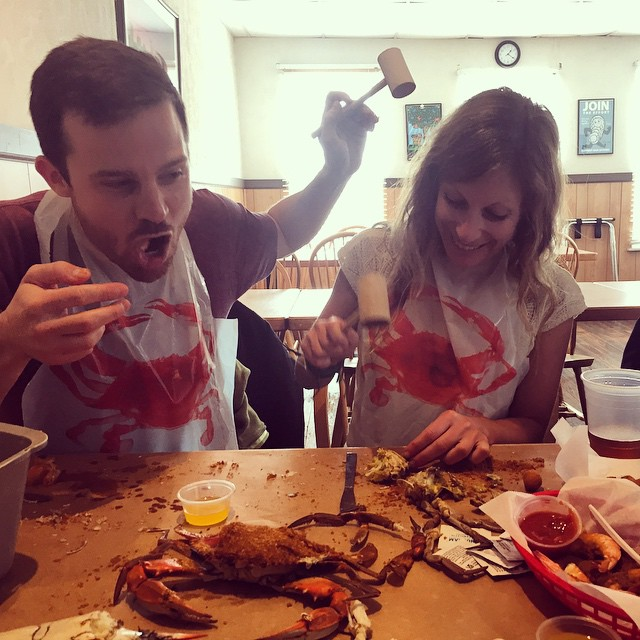 We got what we came for - no crab is safe in Baltimore @iskelbs well deserved photo credit @mcelberts #actionshot #crabs #baltimore #tourist #nomnomnom