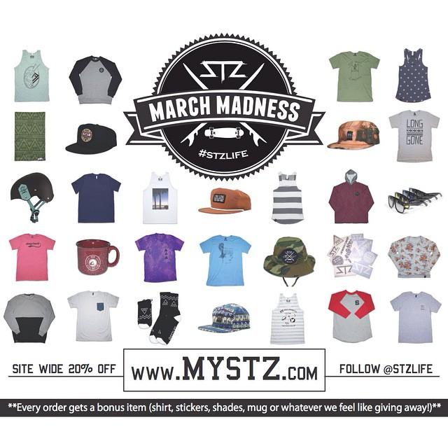 You should be outside but if not then head over to www.MYSTZ.com for 20% off and a free gift with every order! | Promo code: Marchmadness | Free gift is anything we feel like giving away! #stzlife #happyshredding #snowboard #skateboard #surf #wakeboard...