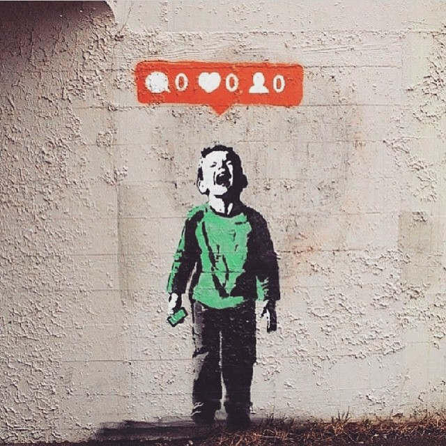 Don't Worry, Be Happy | Work by @banksy.co.uk | #CryBaby #StreetArt #Graffiti