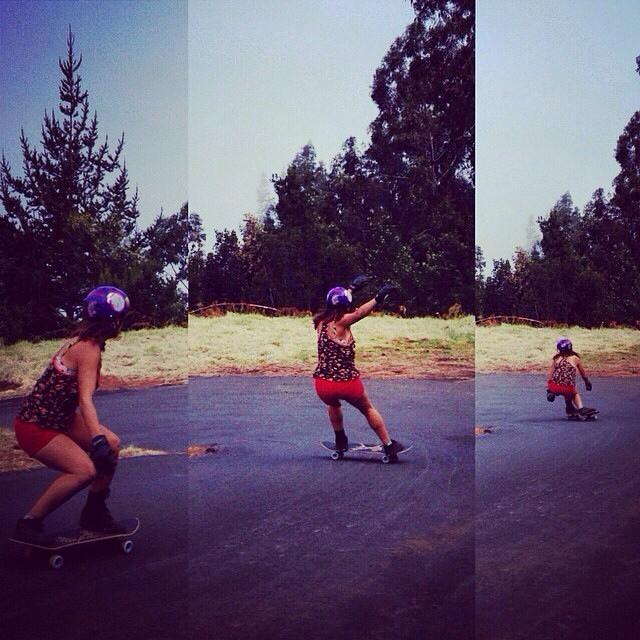 Team rider Yvonne Byers--@yvonzing sliding the Spunk!  #yvonnebyers #bonzing #spunk #skateboarding