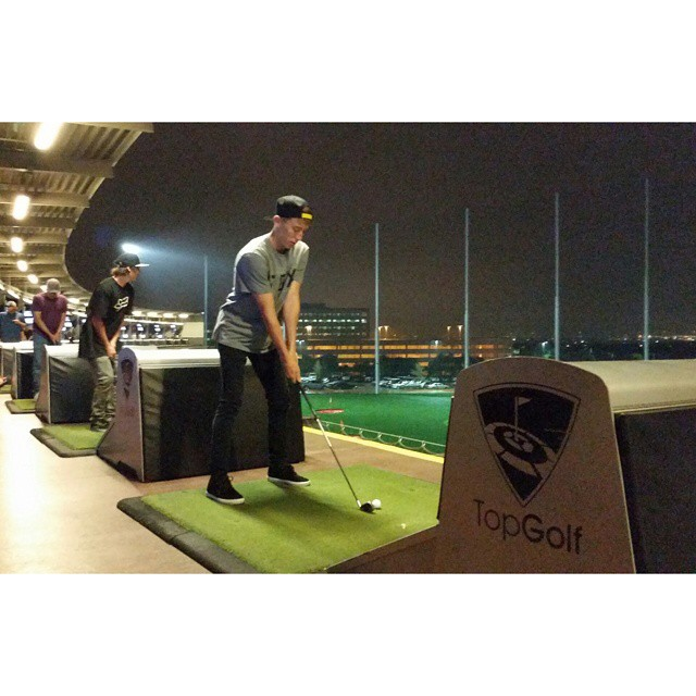 @chase_hawk and the homies are gettin' some swings in at Top Golf on Esperanza Crossing! #ATXtakeover