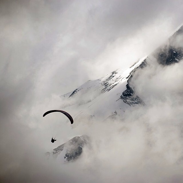 Is your head in the clouds?  Lloyd Pennicuik navigates a cloudy day at the Grossglockner. Photo by Jon Nash.