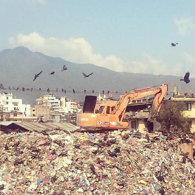 This is a photo of one of the largest dumps in Kathmandu, not so far from our workshop. On a clear day you can see the Himalayas in the background. This serves as a motivator for us to continue to keep the environment at the forefront while creating...