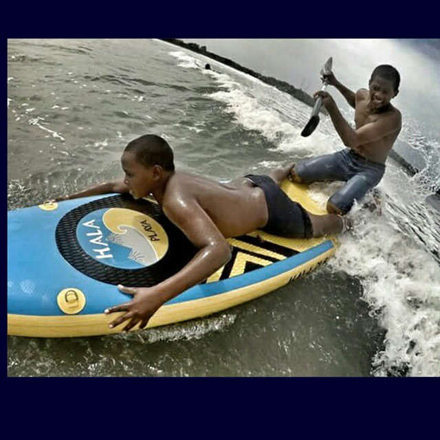@suppaulclark captures two brothers having some #fun #surfing on the #halaplaya . #halagear #adventuredesigned #sup #supsurfing #standuppaddle #panama #paddleboard #stand_up_paddle #surfing #travel