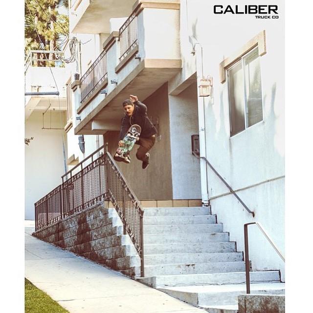 @radicalsmith on new #CALIBERSTANDARDS 8.5's  #OUTSOON #skateboarding #LA boneless over rail